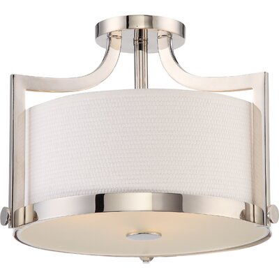 Bullen 3-Light Semi Flush Mount Base Finish: Polished Nickel