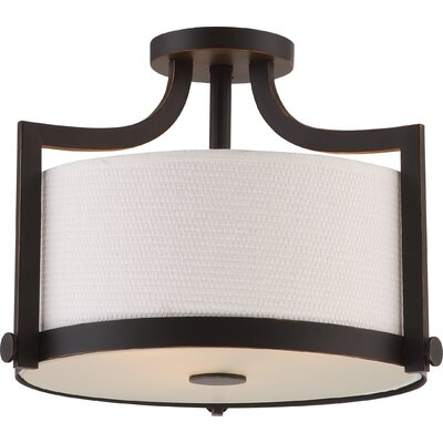 Bullen 3-Light Semi Flush Mount Base Finish: Russet Bronze