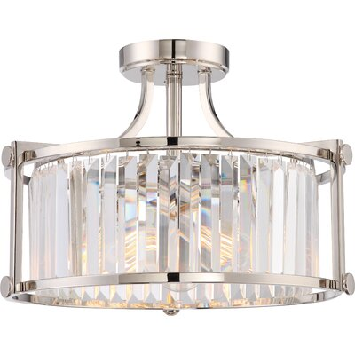 Bunton 3-Light Semi Flush Mount Base Finish: Polished Nickel