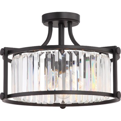 Bunton 3-Light Semi Flush Mount Base Finish: Aged Bronze