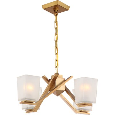 Balogh 4-Light Shaded Chandelier Finish: Vintage Brass