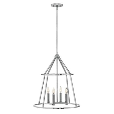 Balbuena 4-Light Candle-Style Chandelier Finish: Polished Nickel, Size: 23.5 H x 20 W x 20 D