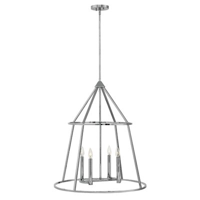 Balbuena 4-Light Candle-Style Chandelier Finish: Polished Nickel, Size: 30 H x 26 W x 26 D