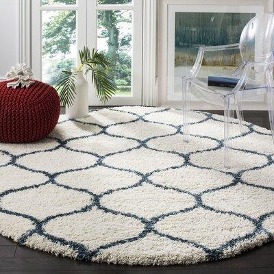 Hampstead Ivory/ Slate Blue Area Rug Rug Size: Round 7