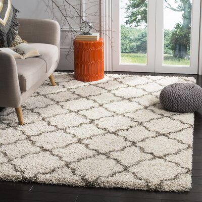 Marco Shag Ivory/Gray Area Rug Rug Size: 10 x 14