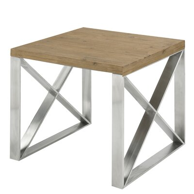 Rempe Stainless Steel Distressed Wood End Table