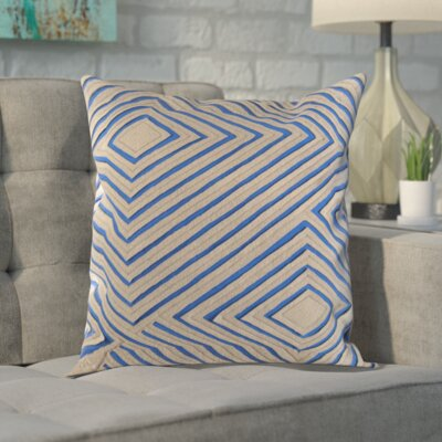 Rieder Cotton Pillow Cover Size: 22 H x 22 W x 1 D, Color: Blue/Brown