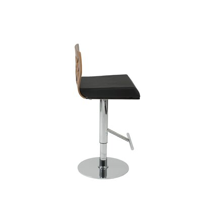 Malvern Adjustable Height Swivel Bar Stool Upholstery: Walnut / Black