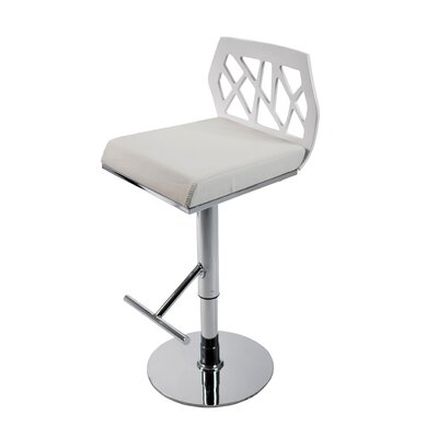 Malvern Adjustable Height Swivel Bar Stool Upholstery: White