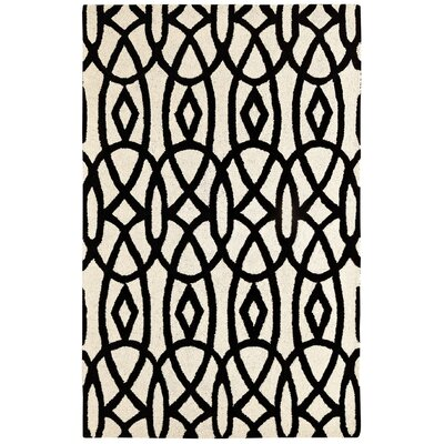 Rentz Ivory/Black Area Rug Rug Size: Rectangle 4 x 6