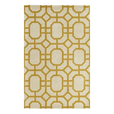 Rentz Yellow/Ivory Area Rug Rug Size: Rectangle 5 x 8