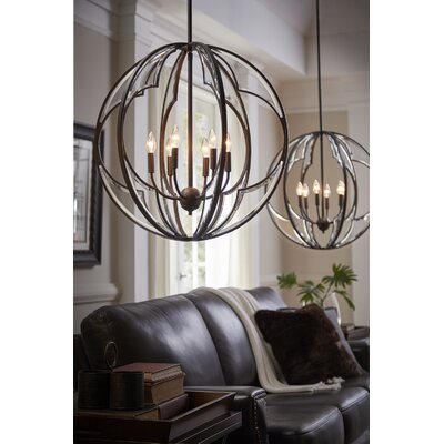 Grisham 6-Light Globe Pendant Finish: Olde Bronze