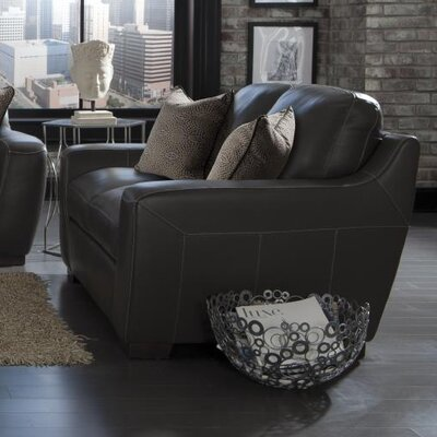 Hagan Leather Loveseat Upholstery: Slate