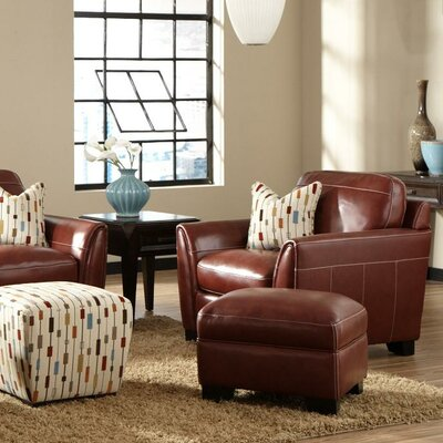 Hahira Leather Arm Chair Fabric: Chestnut