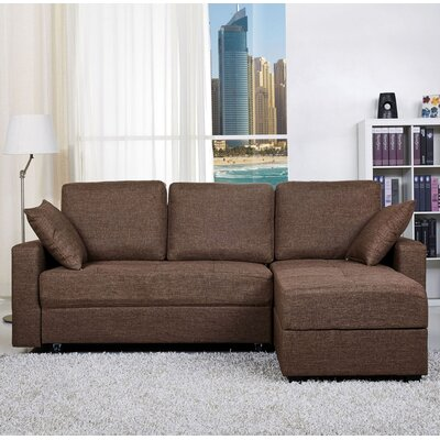 Keshawn Reversible Sleeper Sectional Upholstery: Brown Ceramic