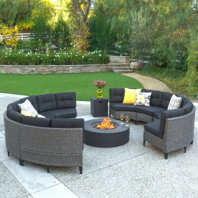 Stoneman 10 Piece Deep Seating Group with Cushion Finish: Dark Gray