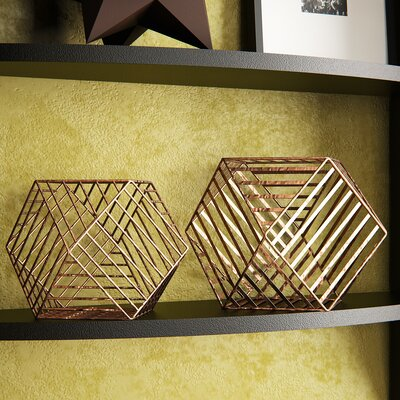 Adhafera 2 Piece Metallic Wire Dodecahedron Sculpture Set Finish: Copper