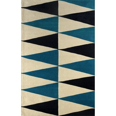 Hisle Hand-Tufted Teal/Cream Area Rug Rug Size: Rectangle 4 x 6