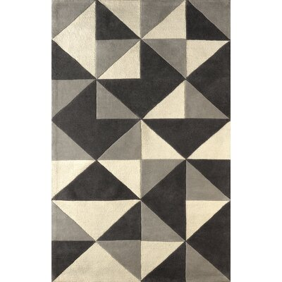 Lueras Hand-Tufted Platinum/Ivory Area Rug Rug Size: 5 x 8