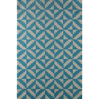 Hisey Hand-Tufted Teal Area Rug Rug Size: 4 x 6