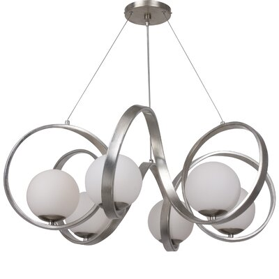 Bacher 6-Light Candle-Style Chandelier Finish: Antique Silver