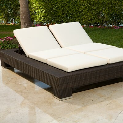 Ropp Double Chaise Lounge with Cushion Fabric Color: Natural