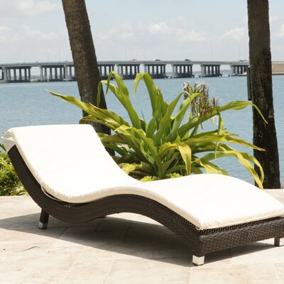 Roper Chaise Lounge with Cushion Fabric Color: Sunbrella Antique Beige