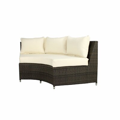 Rorie Round Sofa with Cushions Color: Black