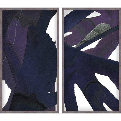Brayden Studio Jasper Graphite Diptych 2 Piece Framed Painting Print Set
