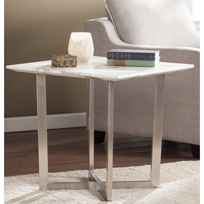 Rosenbalm Faux Marble End Table