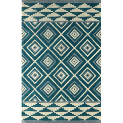 Luevano Hand-Tufted Ivory/Blue Area Rug Rug Size: 6 x 9