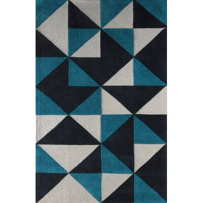 Lueras Hand-Tufted Gray/Blue Area Rug Rug Size: 6 x 9