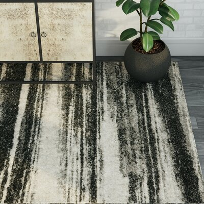 Tesch Dark Grey & Light Grey Area Rug Rug Size: 4 x 6
