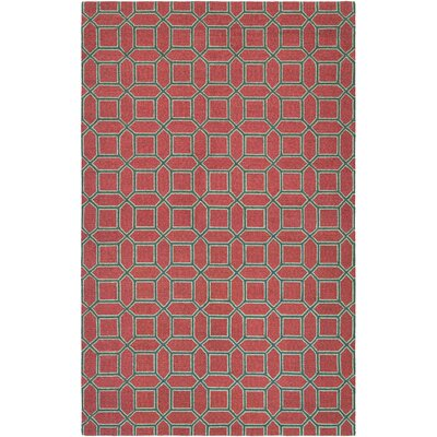 Lopes Hand-Woven Crimson/Brown Area Rug Rug Size: 53 x 76