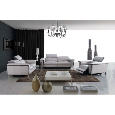 Baccus 3 Piece Leather Living Room Set