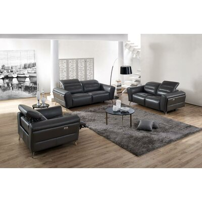 Seiber 3 Piece Leather Living Room Set