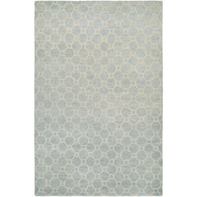 Lopresti Hand-Knotted Ivory/Light Blue Area Rug Rug Size: 96 x 136