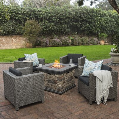 Burch Modern 5 Piece Fire Pit Set with Cushions Frame Finish: Mixed Black