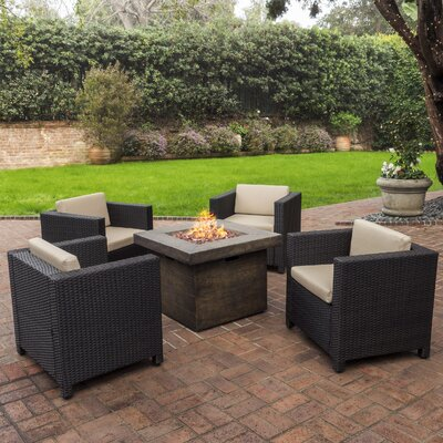 Burch 5 Piece Fire Pit Set with Cushions Frame Finish: Dark Brown with Brown
