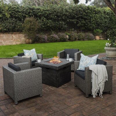 Sensabaugh 5 Piece Fire Pit Set with Cushions Frame Finish: Mixed Black with Gray
