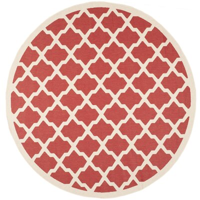 Short Red & Bone Indoor/Outdoor Area Rug Rug Size: Round 710