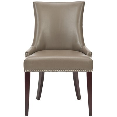 Alpha Centauri Upholstered Side Chair in Leather- Clay with Nickel Nailheads