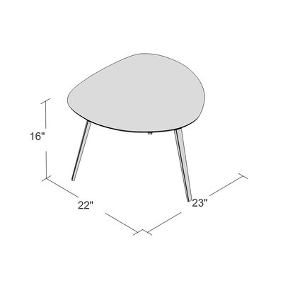 Buettner Triangle End Table Base Color: Polished Metal, Top Color: Walnut