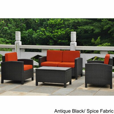 Katzer Resin Wicker/Aluminum Patio 4 Piece Lounge Seating Group with Cushion Frame Finish: Black Antique