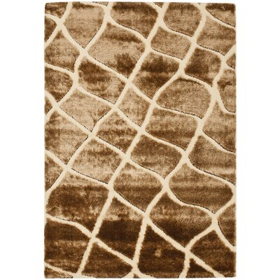 Stryker Creme/Brown Area Rug Rug Size: 53 x 76