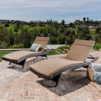 Larry Reclining Chaise Lounge with Cushion Color: Caramel
