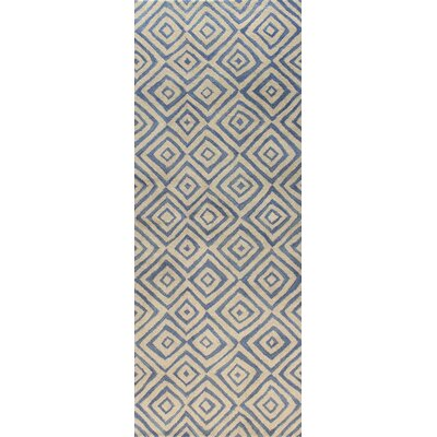 Trautman Ivory/Blue Area Rug Rug Size: Runner 26 x 8