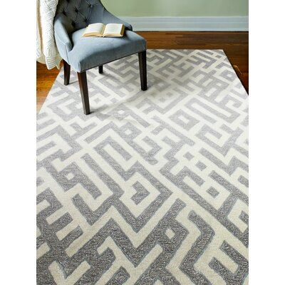 Lucus Hand-Tufted White/Taupe Area Rug Rug Size: Rectangle 76 x 96