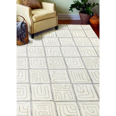 Lucus Hand-Tufted White Area Rug Rug Size: Rectangle 36 x 56