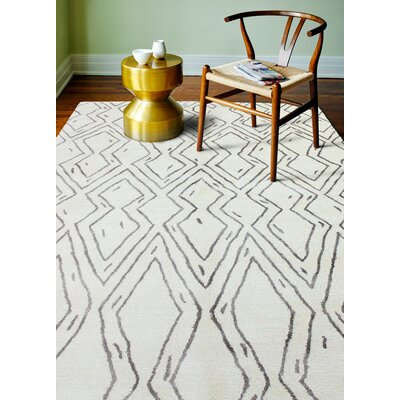 Lucus Hand-Tufted White Area Rug Rug Size: 86 x 116